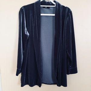 Missguided Grey Blue Velvet Cardigan